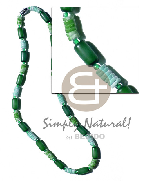 Buri seed tube colored Surfer Necklace