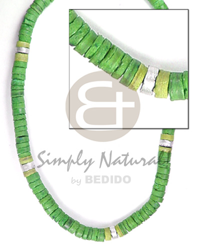 7-8mm coco heishe in green Surfer Necklace