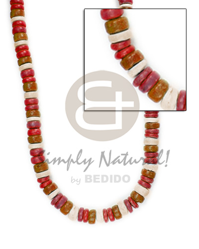 hand made 4-5mm pokalet maroon brown tones Surfer Necklace