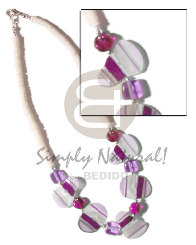 Painted violet striped capiz Surfer Necklace