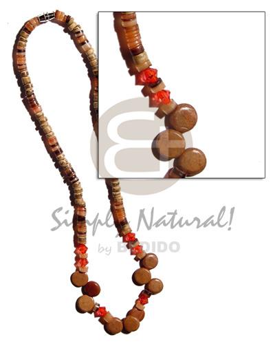 4-5mm coco heishe tiger Surfer Necklace