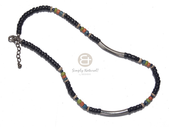 4-5mm coco black pokalet Surfer Necklace