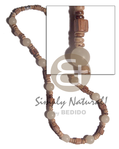 4-5mm  coco Pokalet nat. tiger  palmwood cubes and buri seed beads combination / 16in/ barrel lock - Surfer Necklace