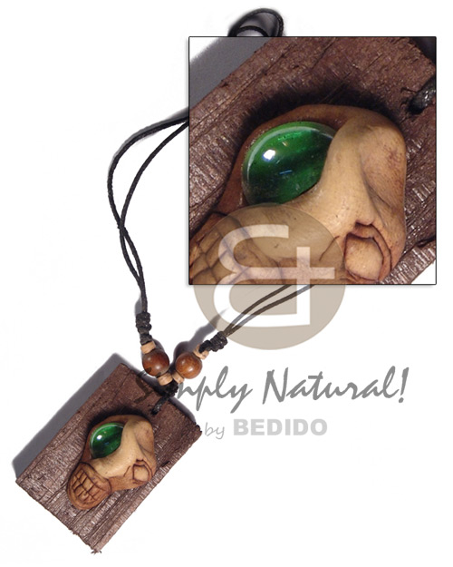 Clay skull on 60mmx40mm Surfer Necklace