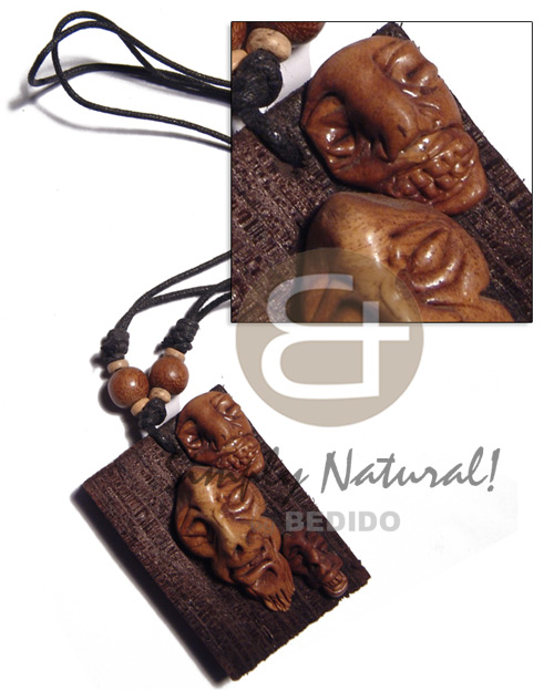 Clay tribal mask on 60mmx40mm Surfer Necklace
