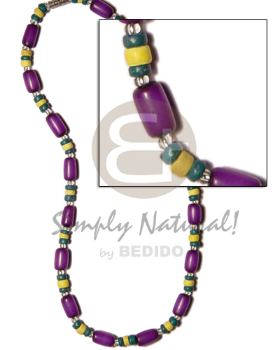 hand made Violet buri tube w. yellomoss Surfer Necklace