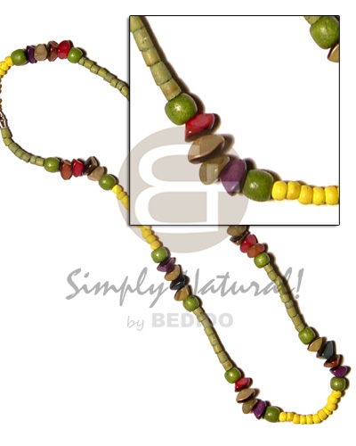 Yellow green 2-3 coco pokalet Surfer Necklace