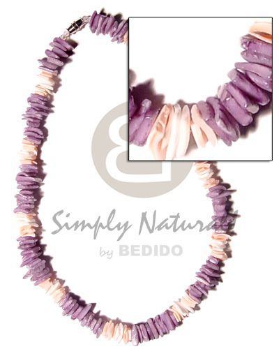 White rose dyed lilac Surfer Necklace