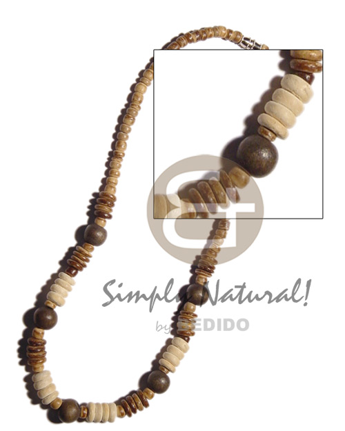 4-5mm coco pokalet tiger Surfer Necklace