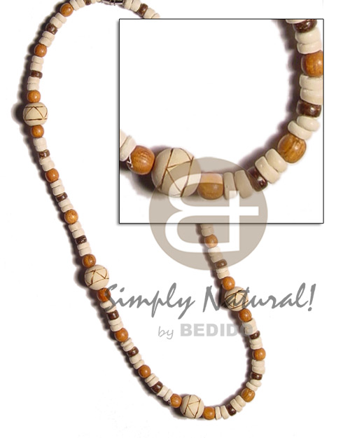 4-5mm coco pokalet. bleach brown Surfer Necklace