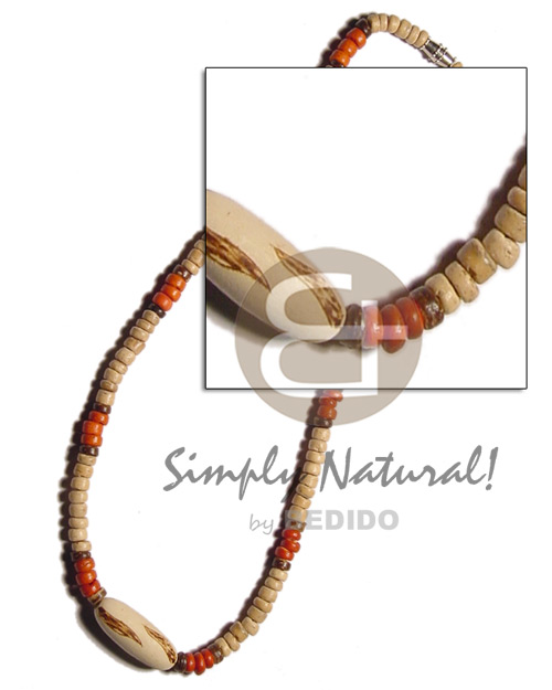 4-5 natural and orange coco Surfer Necklace