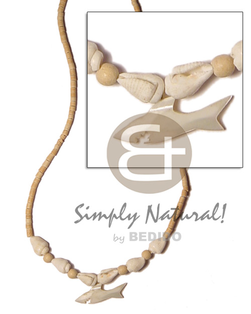 2-3mm coco heishe natural Surfer Necklace