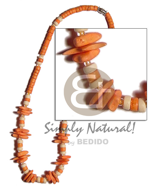 Orange 4-5mm coco heishe Surfer Necklace