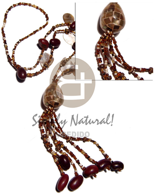 Dangling oval brownlips beans Tassled Necklace