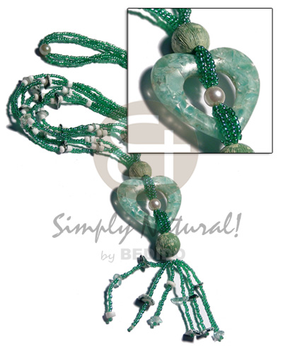 3 Rows Green Glass Beads