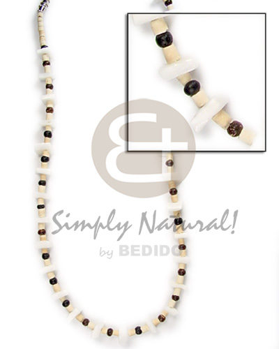 2-3mm coco heishe bleach Teens Necklace