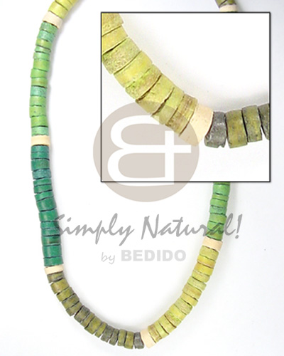 4-5mm coco heishe 3 green Teens Necklace