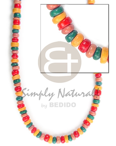 4-5mm coco pokalet tan grn red mango orange Teens Necklace