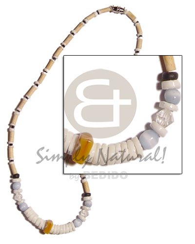 Wood tube white clam Teens Necklace