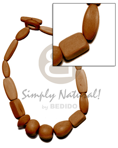 Natural wood beads dyed in Teens Necklace