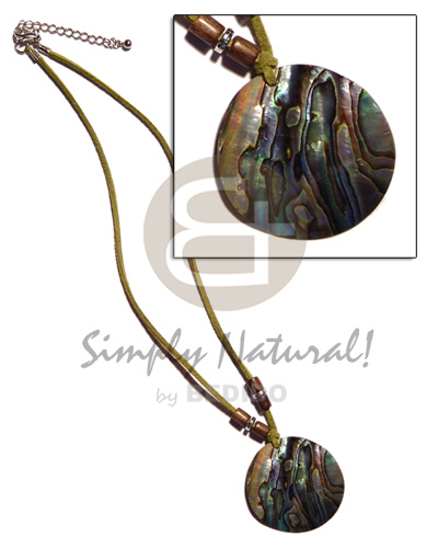 40mm round paua abalone in Teens Necklace