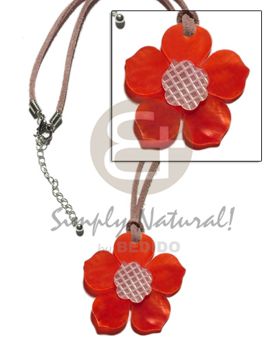40mm red hammershell flower Teens Necklace