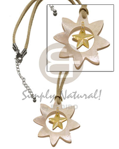 40mm star hammershell dangling Teens Necklace