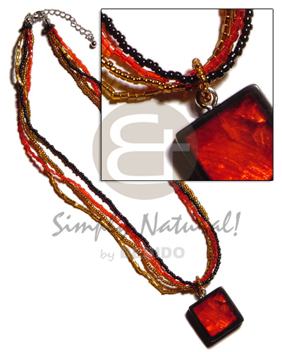 Black red gold 4 layer glass beads Teens Necklace