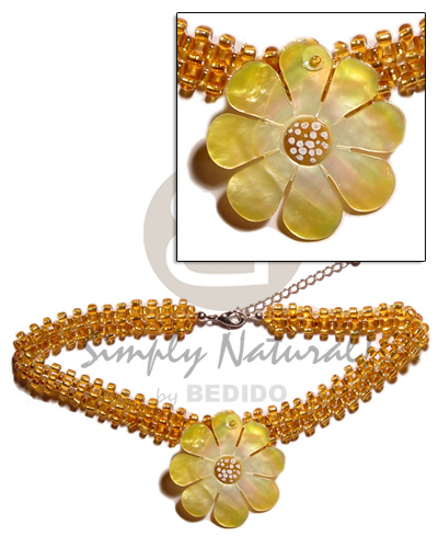 Yellow gold glass beads flat Teens Necklace