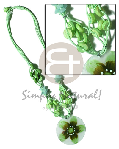 hand made 4 layer knotted bright green Teens Necklace