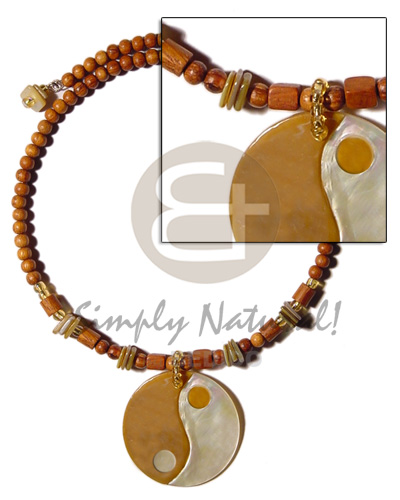 Robles wood beads choker wire Teens Necklace