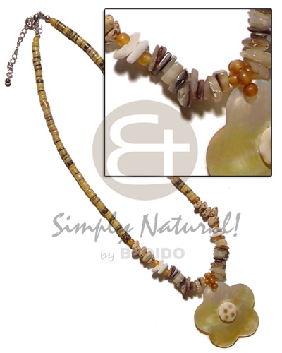 Yellow hammershell heishe buri Teens Necklace