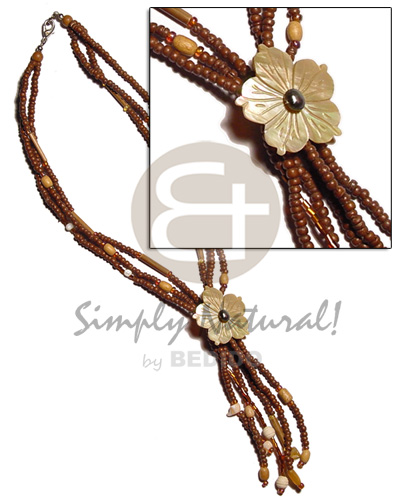 3 rows 2-3mm tassled natural Teens Necklace