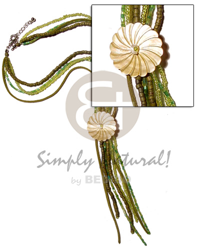 4 layer green tones tassled Teens Necklace