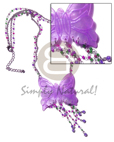 Tassled lavender 50mm butterfly hammershell Teens Necklace