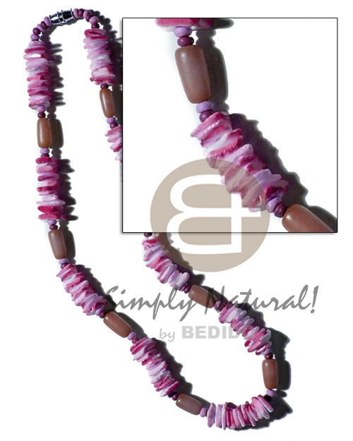 Buri seed tube colored Teens Necklace