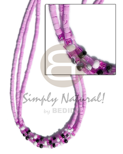 3 rows lilac coco heishe Teens Necklace