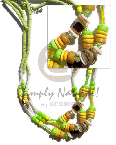 hand made 3 rows 2-3mm lime Teens Necklace