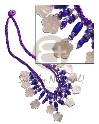 Violet macrame dangling 15mm Teens Necklace