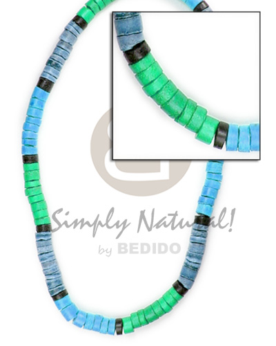 4-5mm coco heishe green blue blue gray black Teens Necklace