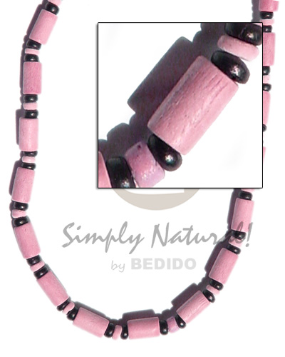 Pastel pink wood tube Teens Necklace