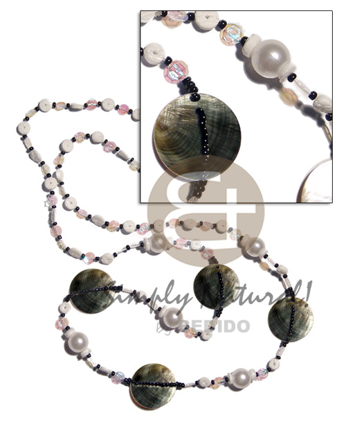 40 in. floating white rainbow sequins glass Teens Necklace