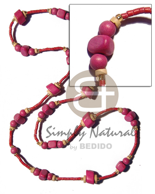 Pink wood beads in 2-3mm Teens Necklace