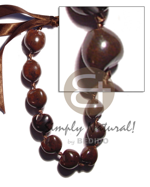 hand made Brown kukui nuts Teens Necklace