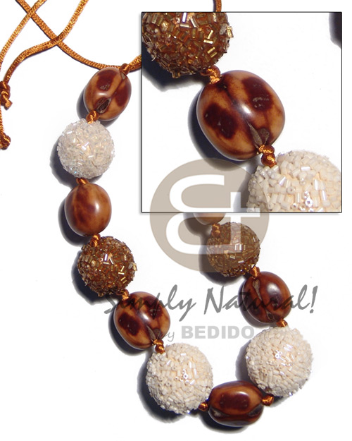 20mm 25mm round wrapped wood beads Teens Necklace