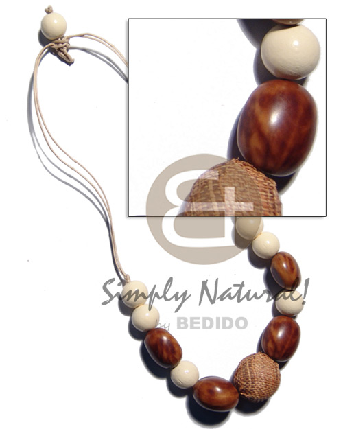 15mm buffed white wood beads Teens Necklace