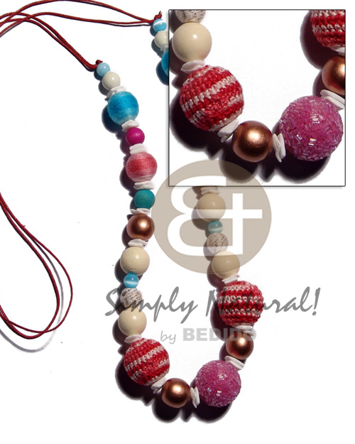 Multicolored 20mm wrapped crochet round Teens Necklace