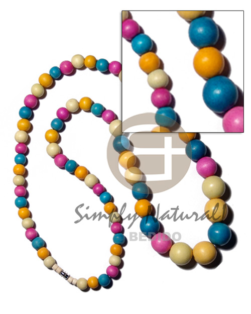 Multicolored graduated natural wood beads Teens Necklace