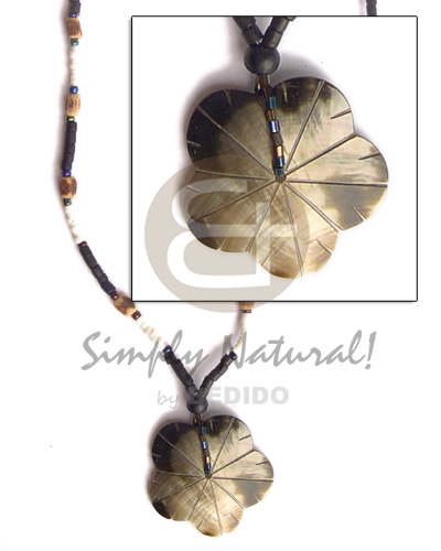 hand made Black lip scallop pendant 2-3 heishe Teens Necklace