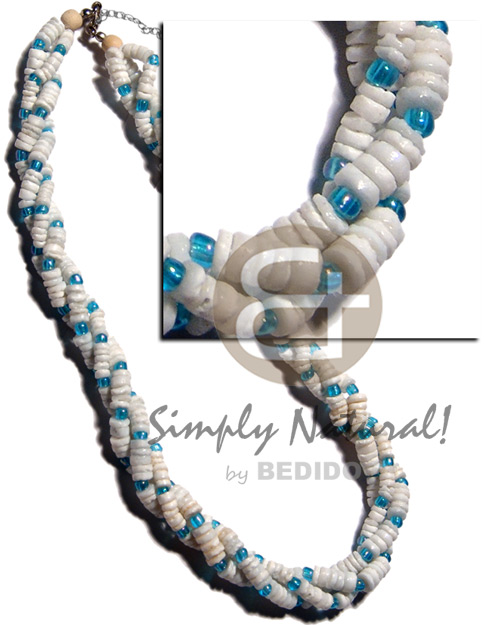 Twisted white clam aqua Teens Necklace